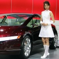 A Thai model presents Honda's FCX Concept car at the 27th Bangkok