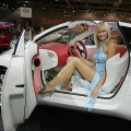A model sits in the Citroen AirPlay concept car