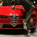 A model poses with the new Alpha Romeo Brera at the 75th Geneva International Motorshow
