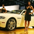 Maserati shows off the Quattroporte on the show floor during the press preview days