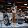 A model poses with the Hyundai i-blue concept car at the 2007 Taiwan