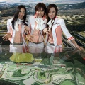 Fuji Speedway campaign girls promote the race course at the Tokyo Auto Salon