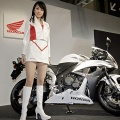 A model displaying a prototype model of Japanese motorcycle giant Honda Motor's racing styled motorcycle